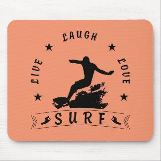 Live Laugh Love Surf 3 BlackText Mouse Pad
