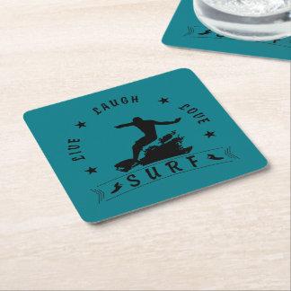 Live Laugh Love Surf 3 BlackText Square Paper Coaster