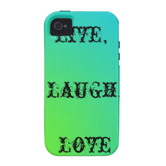 Live,laugh,love teal and lime green Case-Mate iPhone 4 case