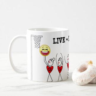 Live Laugh Play Emoji Funny Netball Coffee Mug