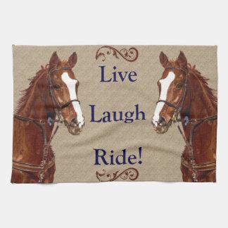 Live Laugh Ride! Horse Kitchen Towel