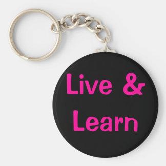 Live & Learn Basic Round Button Keychain