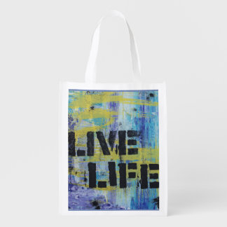 Live Life Abstract  Message Reusable Grocery Bag