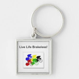 Live Life Brakess! keytag Silver-Colored Square Keychain