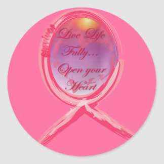 Live Life Fully: Breast Cancer Pink Ribbon Round Sticker