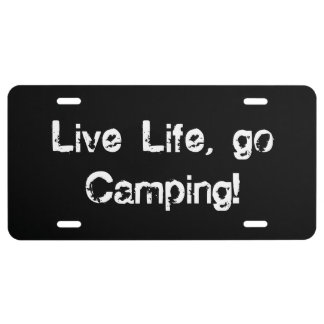 Live Life Go Camping License Plate