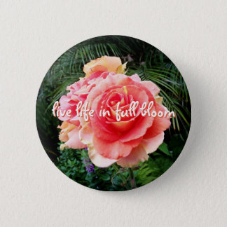 """Live life in full bloom"" quote pink rose photo 2 Inch Round Button"
