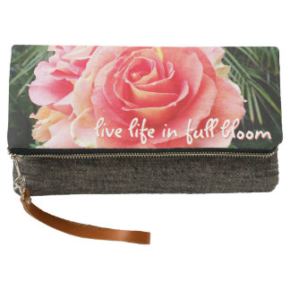 """""""Live life"""" quote pink rose photo fold-over clutch"""