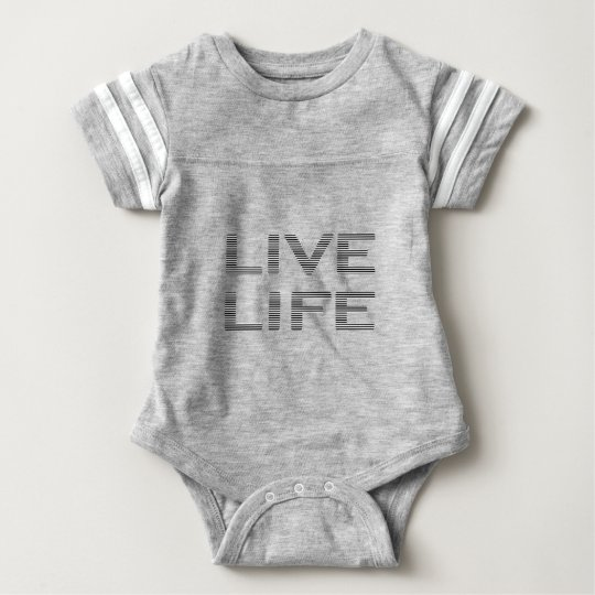 LIVE LIFE - strips - black and white. Baby Bodysuit