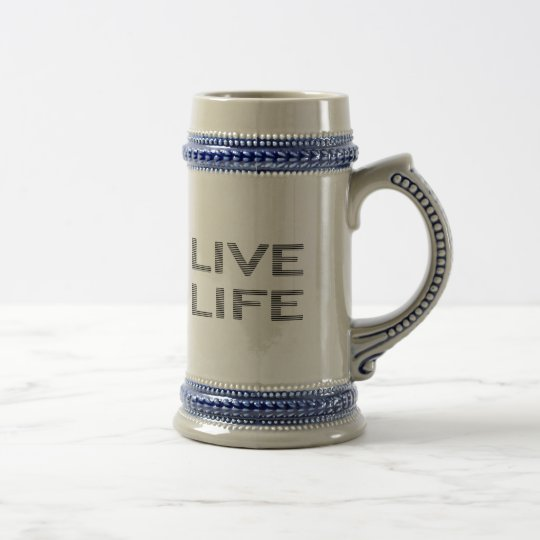 LIVE LIFE - strips - black and white. Beer Stein