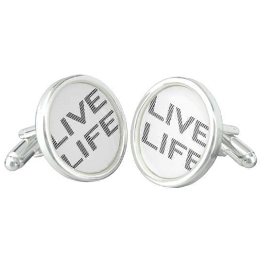 LIVE LIFE - strips - black and white. Cuff Links