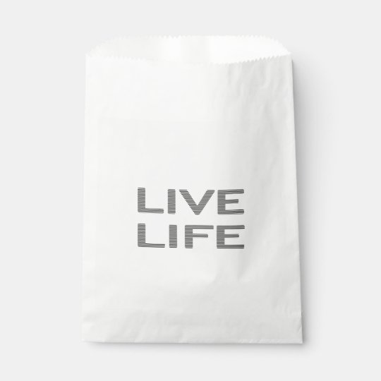 LIVE LIFE - strips - black and white. Favour Bag