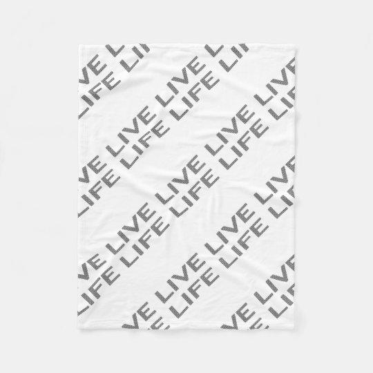 LIVE LIFE - strips - black and white. Fleece Blanket