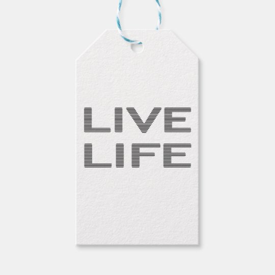 LIVE LIFE - strips - black and white. Gift Tags
