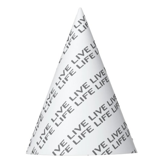LIVE LIFE - strips - black and white. Party Hat