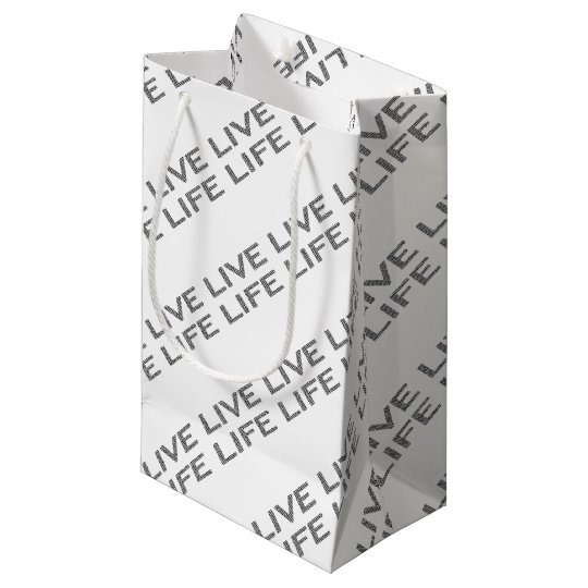 LIVE LIFE - strips - black and white. Small Gift Bag