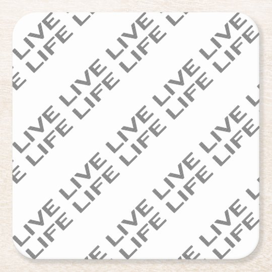 LIVE LIFE - strips - black and white. Square Paper Coaster