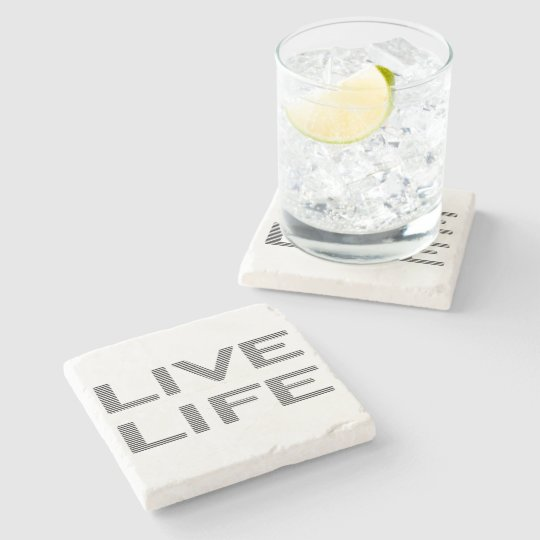 LIVE LIFE - strips - black and white. Stone Coaster