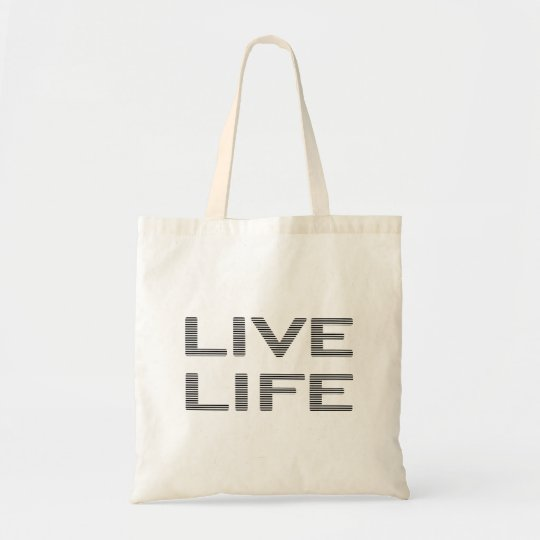 LIVE LIFE - strips - black and white. Tote Bag