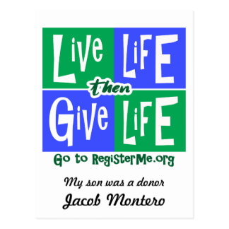 Live Life then Give Life Donor Postcard
