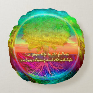 Live Life to the Fullest Round Pillow