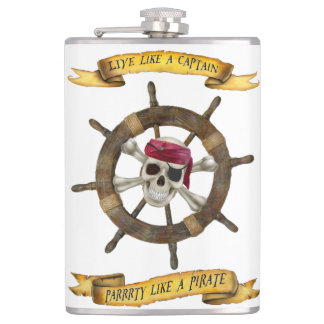 LIVE LIKE A CAPTAIN  PARTY LIKE A PIRATE HIP FLASK