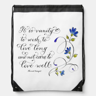 Live Long live well inspirational quote typography Drawstring Bag