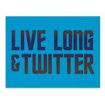 Live Long & Twitter Text Postcard