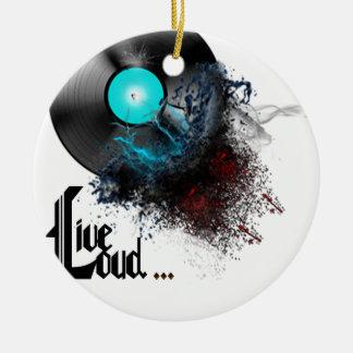 Live Loud Round Ceramic Ornament