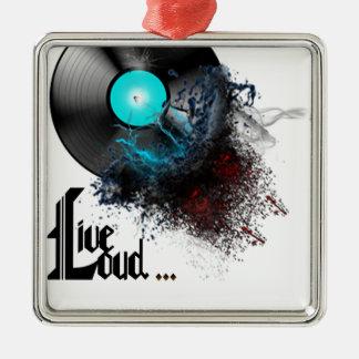 Live Loud Silver-Colored Square Ornament
