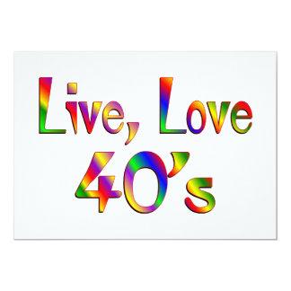 "Live Love 40s 5"" X 7"" Invitation Card"