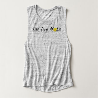 Live, Love, Aloha Flowy Muscle Tank Top