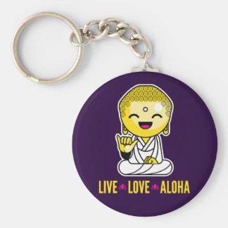 Live Love Aloha Funny Buddha cartoon Basic Round Button Keychain