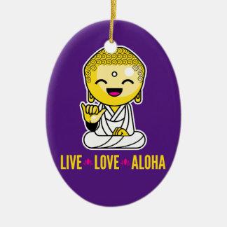 Live Love Aloha Funny Buddha cartoon Ceramic Oval Ornament