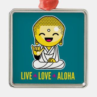 Live Love Aloha Funny Buddha cartoon Silver-Colored Square Ornament