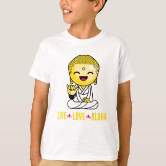 Live Love Aloha Funny Buddha cartoon T-Shirt