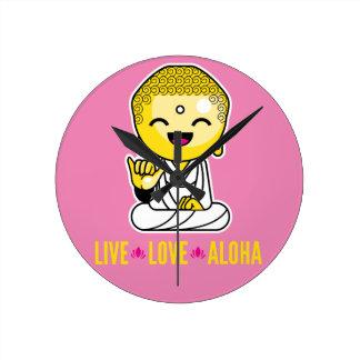 Live Love Aloha Funny Buddha cartoon Wallclock