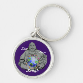 Live love and laugh Silver-Colored round keychain