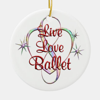 Live Love Ballet Round Ceramic Ornament