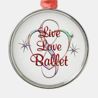 Live Love Ballet Silver-Colored Round Ornament