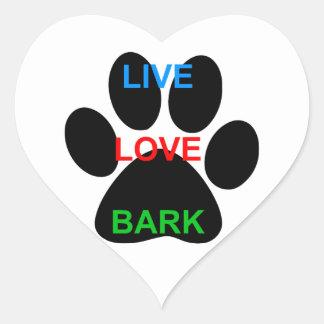 LIVE LOVE BARK Dog Paw Print Heart Sticker