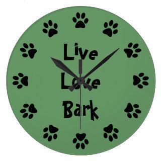 Live Love Bark Paw Prints Wall Clock