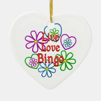 Live Love Bingo Ceramic Ornament
