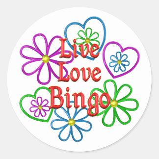 Live Love Bingo Classic Round Sticker