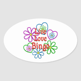 Live Love Bingo Oval Sticker