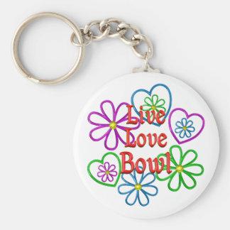 Live Love Bowl Basic Round Button Keychain