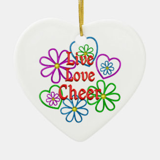 Live Love Cheer Ceramic Ornament