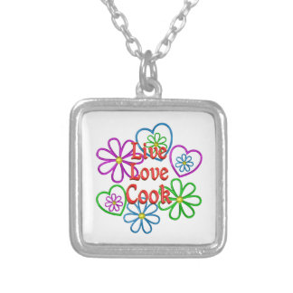Live Love Cook Silver Plated Necklace
