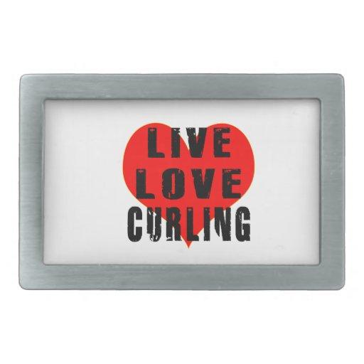 Live Love Curling Rectangular Belt Buckle