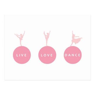 Live Love Dance Ballerinas - Pink - Postcards